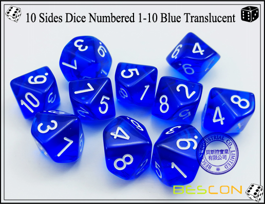 10 Sides Dice Numbered 1-10 Blue Translucent-2
