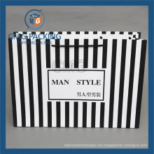 Bolsa de papel Black Stripes para ropa de moda (CMG-MAY-044)