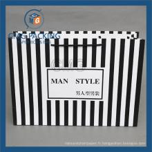 Sac en papier rayé noir pour les vêtements de mode (CMG-MAY-044)