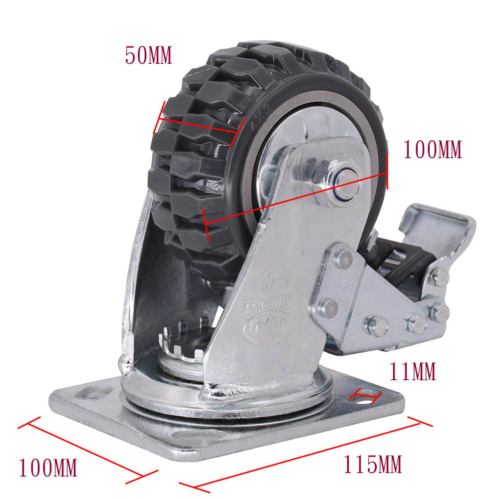 4 Inch Grey Pvc Caster With Brake