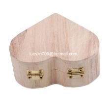 Organizador de madera de la joyería de la caja de joyería del corazón, color de madera original para la pintura de DIY