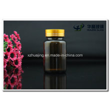 Amber 100g Empty Glass Capsule Bottles with Cap