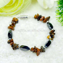 New arrival Natural Tiger eye chip with Magnetic 4 side twist beads stretch bracelet gemstone handmade bracelet