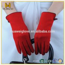 Atacado de mulheres magro Touch Screen Red Woolen Gloves