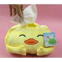 Lovely plush duck toys napkin box for kids