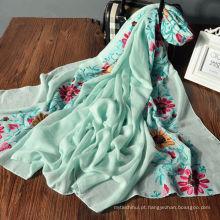 Novo design multi funcional padrão de flor tecido senhora xales atacado hijab malásia