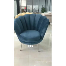 Chinese Wholesale Furniture Fabric Couch Living Room Armchair Blue Velvet Stainless Steel 1 Seater Sofa