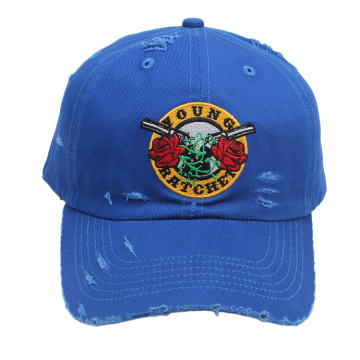 Promotionnel personnalisé pas cher vieux style usé 6 panneau court bord haute qualité broderie sports hip hop baseball chapeau dur chapeau