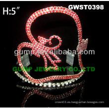 Corona de la tiara del rhinestone del corazón -GWST0398