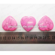 35MM Heart shape pink turquoise stone,high polished,high quality,natural heart shape stone