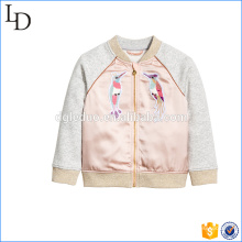 satin panels at front jacket for kids winter new style softshell outdoor jacket