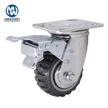 Rodízio industrial do PVC do giro de 4 polegadas com freio