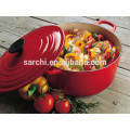 Metal casserole with colorful enamel coating