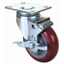Swivel PU Caster with Side Brake (Red)