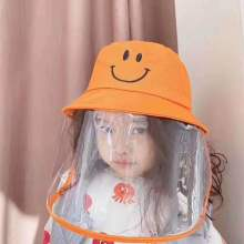 Children protective medical face shield mask bucket hat