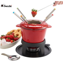 2 Quart Stylish Red enamel Cast Iron Cheese Fondue Set