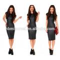 Mini vestido de mujer sexy vestido de imitación de cuero semi-transparente ahueca hacia fuera vestido bodycon dividido sin mangas negro