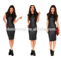 Sexy Women Mini Dress Imitation Leather Splice Semi-sheer Hollow Out Sleeveless Split Bodycon Dress Black