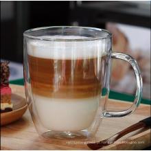 Resistência ao calor de segurança Double Wall Glass Coffee Mug para atacadista