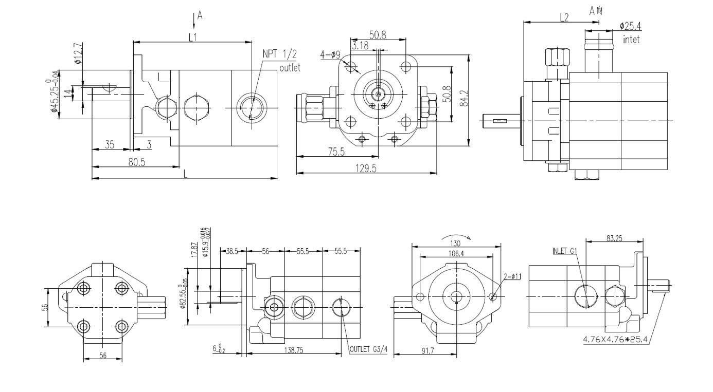 CBT-**HI/LO Gear Pumps Dimensions