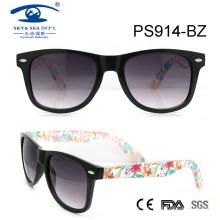 2015 Fashion High Quality Flower Temple Plastic Sunglasses (PS914)
