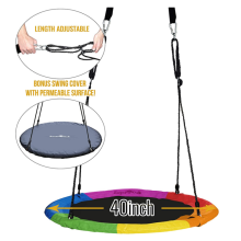 Colorful Giant Saucer Tree Swing with Bonus Carabiner