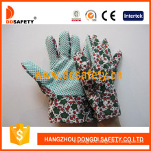 Flower Cotton Gardening Band Cuff Dots Garden Glove Dgb104