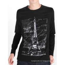 Torre de diseño de impresión de algodón negro de manga larga camiseta de los hombres
