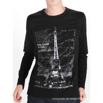 Tower Design Printing Schwarz Baumwolle Benutzerdefinierte Langarm Männer T-Shirt