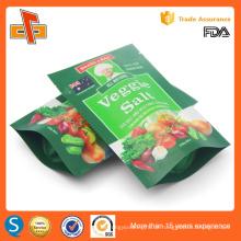 Grüne Farbe Druck Metallisierte Reißverschluss Tasche Tasche mit klarem Fenster für Gemüse Salz