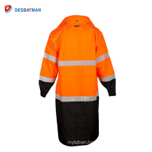ANSI107 Mens HI VIZ Safety Waterproof Raincoat High Visibility Breathable Reflective Hooded Wear Jacket for Nighttime Work