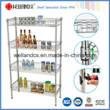 Adjustable 4 Layers Chrome Metal Kitchen Wire Basket Shelving