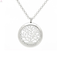 Árvore de prata da vida de vidro aromaterapia pingente, aroma perfume pingente de jóias