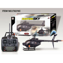 Novidades FX070C Grande 2.4G 4CH Flybarless R / C Helicóptero com Giroscópio