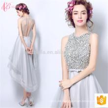 High Neck Schwere Perlen Sequins Kurze ärmellose OEM Services Suzhou Alibaba Abendkleid