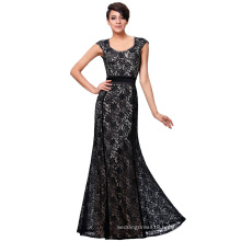 Kate Kasin Cap Sleeve Floral Lace Black Long Evening Dress KK000215-1