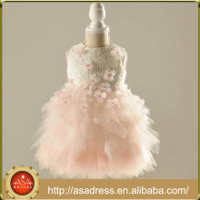 RFGD04 2017 Pretty Tulle Flower Girl Dress Girl Robes de soirée Appliqued Pink Lace Little Girls Pageant Robes