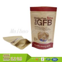 Custom Printed Resealable Round Bottom Kraft Paper Stand Up Pouch With Window And Zipper For Food