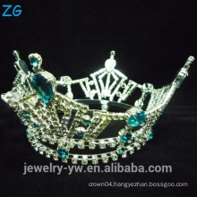 Green Crystal Full Round Crown And Tiaras, Round Pageant Crowns, wholesale pageant crowns