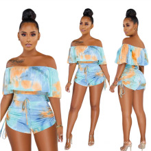 Summer Sexy Hollow-out Camouflage Print Flounce Jumpsuit with Strap Drawstring