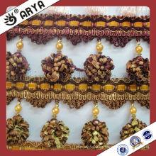 Perlas de plástico baratos Franja de borla de cortina para el sofá, franja de recorte decorativa utilizados para los accesorios de la cortina para la decoración del hogar