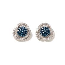 925 Silver Colored and White Diamond Stud Earrings Wedding Earrings