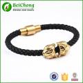Black genuine leather gold lion head  stainless steel bracelet