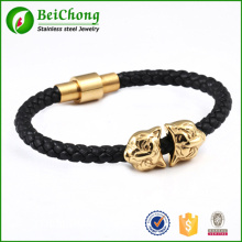 Black genuine leather gold lion head  stainless steel bracelet