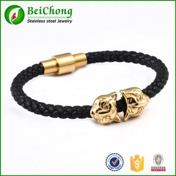 Schwarz Echtleder gold Löwe Kopf Edelstahl-Armband