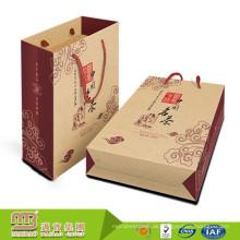Großhandelspreis Wiederverwendbare Eigene Logo Benutzerdefinierte Nylon Seil Griff Braun Kraftpapier Tasche Für Tee Geschenk Verpackung