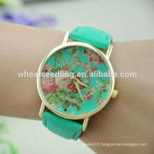 Top selling new design vogue peony fashion geneva flower watch