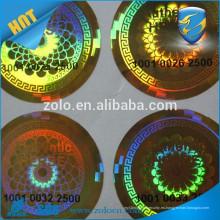 Sello de la etiqueta engomada del holograma 3d / etiqueta engomada impermeable del holograma