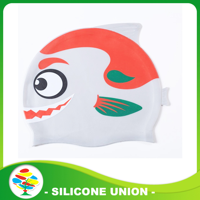printed silicone swimming cap