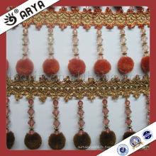 Pompom rideau polyester bordure pendentif long perles, rideau perles pompom frange